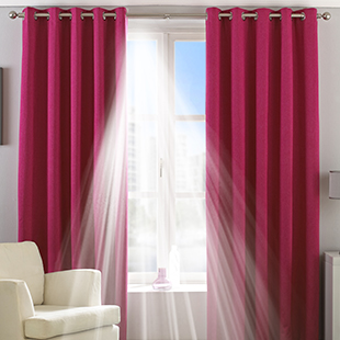 Twilight Eyelet (Thermal Blackout), Pink - Ready Made Curtains