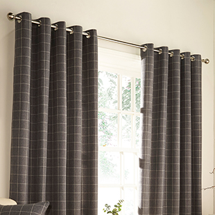 Vermont Eyelet (Dimout), Grey - Ready Made Curtains