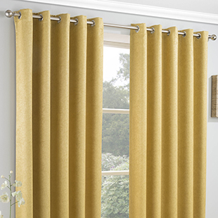 Vogue Eyelet (Thermal Dimout), Ochre - Ready Made Curtains