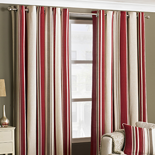 West End Eyelet (Dimout), Raspberry - Ready Made Curtains