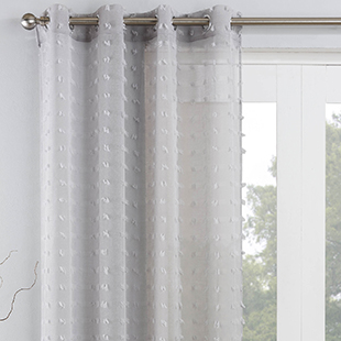 Bali Eyelet Voile, Silver - Ready Made Curtain