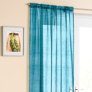 Battersea Voile, Teal - Ready Made Curtain