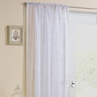 Birdcage Voile, White - Ready Made Curtain