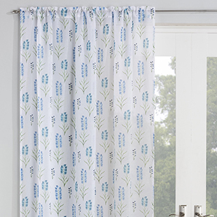 Blossom Voile, Aqua - Ready Made Curtain