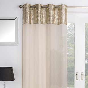 Empire Eyelet Voile, Gold - Ready Made Curtain