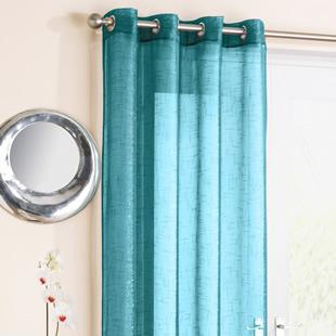 Kensington Eyelet Voile, Teal - Ready Made Curtain
