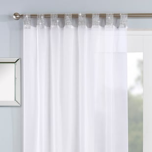 Vegas Voile, White - Ready Made Curtain